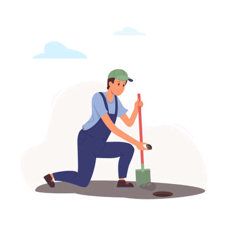 worker sows a seed in the ground. A man dug a hole in the garden with a shovel and bent to plant a plant. A guy in a blue jumpsuit and green cap cultivates seedlings. Vector flat illustration isolated