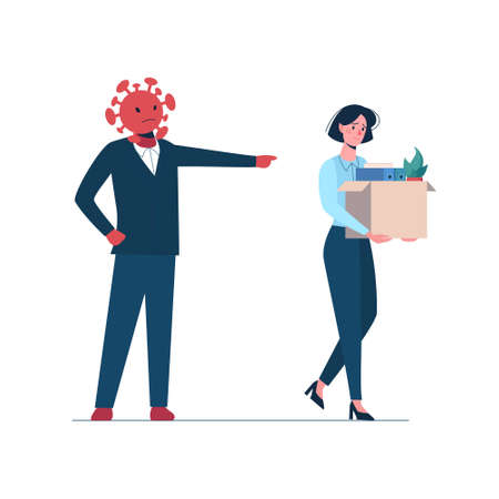 Angry coronavirus leaves a person without work. Fired woman leaves the office with a box in her hands. Job loss due to the Covid-19 virus, economic downturn. Vector flat Dismissed worker, unemployment. Vectores