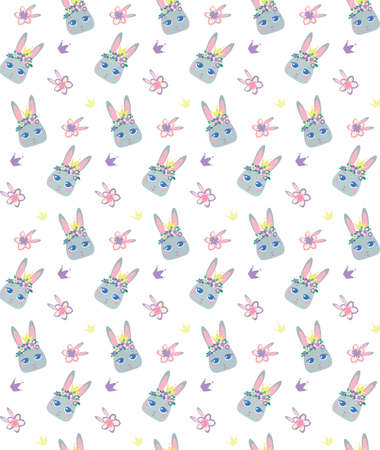 Childrens vector pattern bunny in cartoon style. Cute smiley rabbit in wreaths of pink flowers and with a crown. Isolated on white background. Delicate pastel colors for babies. Printing on textiles. Vectores