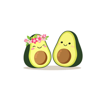 Cute cartoon avocado couple in love, avocuddle. Two avocado halves. St. Valentines day greeting card drawing. Isolated vector illustration.