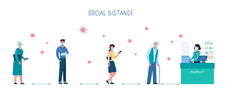 queue in a pharmacy, safe social distance. Several people standing in line and keep social distance, so as not to spread virus, COVID-19. Men and women, bacteria. Vector illustration, flat, isolated