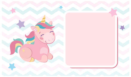 Holiday invitation, congratulation with a delicate pink unicorn for the baby. Stylish postcard, Stars and zigzags around the horses are multi-colored purple, pink, blue . Vector illustration for kids.
