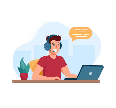 Man with headphones and microphone with laptop. Vector illustration call center specialist. Concept for support, assistance, call center. In the background is an abstract city, flat style Ilustração