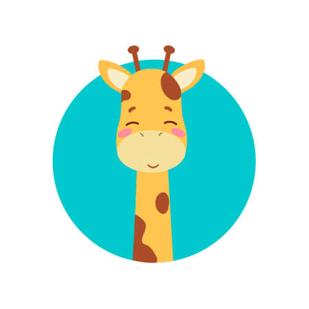 Cute cartoon trendy design little giraffe, baby with closed eyes. African animal wildlife vector illustration icon against the background of the turquoise circle