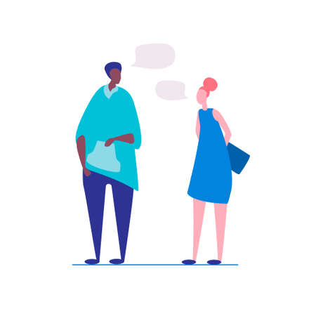 A break in work, a in college. Conversation of students, freelancers. A Afro-American man and a european woman talking. Vector Illustration, flat style, isolated on white background Illusztráció