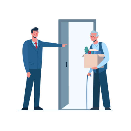 Retirement. boss leaves a elderly person without work. Fired old man leaves the office with a box in his hands. Job loss due to age, crisis, economic decline. Vector. Dismissed employee, unemployment