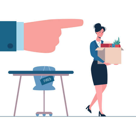 Fired person leaves the office with a box in his hands. Woman without work. Job loss due to crisis, robotics, economic decline. Dismissed employee, nemployment. Vector, flat, isolated.
