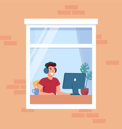 Man working at home. Freelancer at the computer in headphones. Stay home, remote work concept. Social isolation during epidemic. Satisfied employee working. Vector illustration in flat style 向量圖像