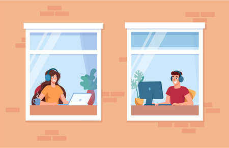 Woman and man are learning, working at home. Stay home, online learning concept, remote work. Freelancers at the computer in headphones. Social isolation during epidemic. Vector, in flat style. Vector illustration. Stock Illustratie