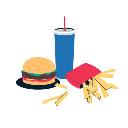 Fast food dishes isolated on white background. .hamburger, french fries, soda with a straw. Vector illustration .in flat style.