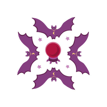pattern of bats, crystal magic ball and stars. Magic print for printing..Cartoon flat style in violet and red.