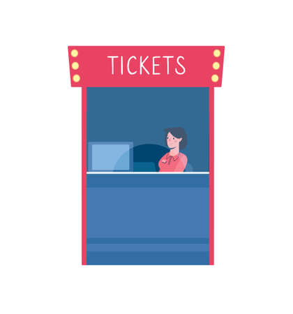 illustration of a ticket office in a cinema. Isolated ticket service on white background, cash desk with cashier in uniform. Flat cartoon style, red and blue colors, yellow lights Illusztráció