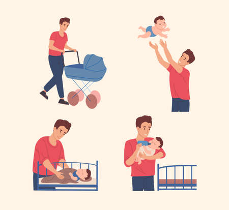 Father spends time with his son. Vector illustration in a flat style. Dad takes care of the baby: he walk with a child, feeds him from the bottle and puts him in bed.