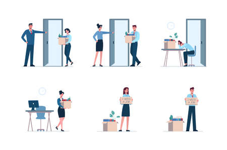 Fired men and women leaves the office with a box in his hands. Job loss due to crisis, covid-19, economic decline. Dismissed employee crying, sad. Vector illustration Unemployment, isolated, flat Ilustración de vector