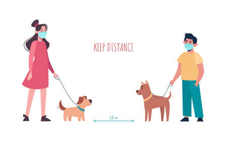 Boy and girl in medical masks walking the dogs, keep a distance so as not to spread the virus. Children keep puppies of different breeds on a leash. Social isolation. Vector flat, cartoon characters. 矢量图像