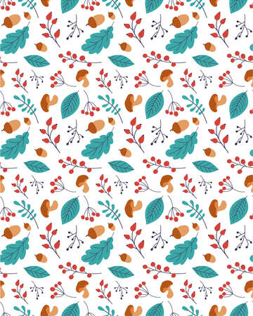 Autumn leaf seamless vector pattern. Hand drawn autumn leaf. Design for poster, kitchen textiles, clothing and wallpaper. Leaves colored oak, ash, poplar, birch, acacia.Rosehip, mushroom,acorns,rowan