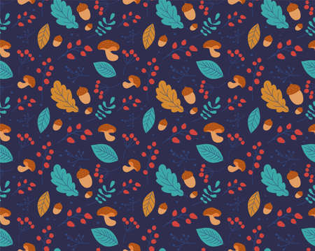 seamless vector pattern Autumn leaves. Design for kitchen textiles, clothing and wallpaper. Leaves colored oak, ash, poplar, birch, acacia. Rosehip, mushroom,acorns,rowan on a black background.