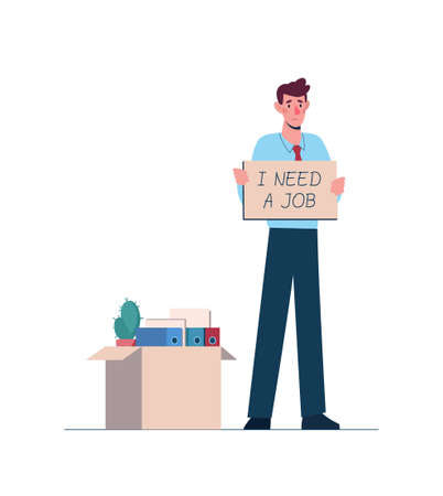 Dismissed man looking for work. Job loss, unemployment because of the economic downturn, robotization, crisis. Worker with a tablet in hands I need work. Near a box with things from the office. vector.