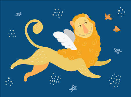 Funny children poster in vector. A cute lion flies through a blue sky among stars and birds with a smile. Fantasies for postcards,posters, banners,printing on childrens t-shirts,diapers for newborns