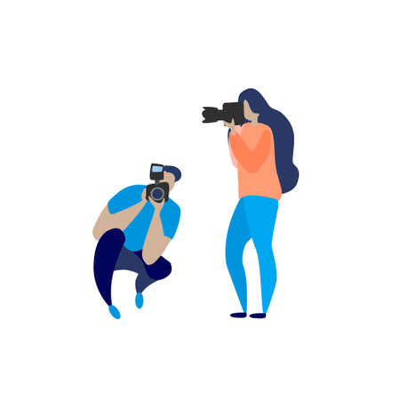 Various photographers holding photo camera and photographing. Creative profession or occupation. Cute female and male cartoon characters take photo shot Colored vector illustration flat style on white.