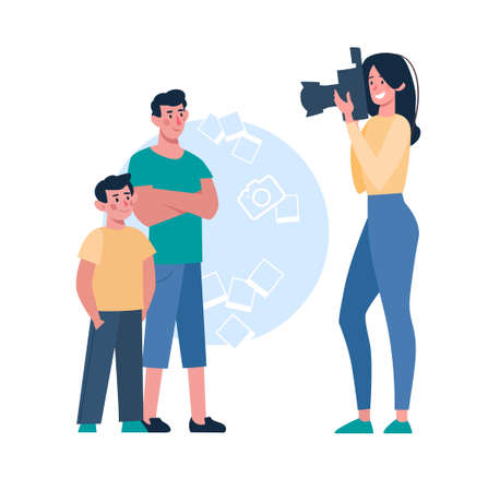 A woman photographs children on a camera with a flash, brothers pose for a photo. Cartoon characters. The mother takes pictures of her sons. Vector, flat style, isolated