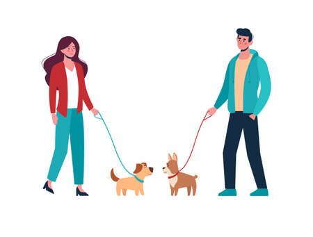 Man and woman in casual clothes walking the dogs of different breeds, keep them on a leash. Active people leisure time. Vector in flat style, cartoon characters isolated on white 矢量图像