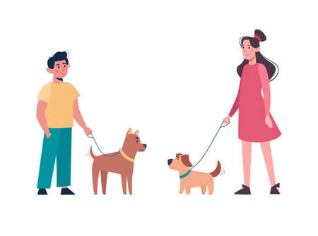 Boy and girl in casual clothes walking the dogs of different breeds, keep them on a leash. Active children leisure time. Vector in flat style, cartoon characters isolated on white background.