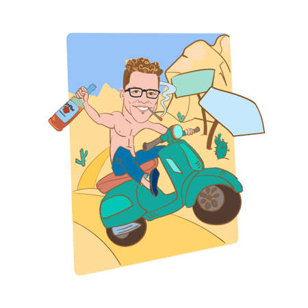 A man with a bottle of whiskey and a cigarette rides a motobike along a desert road.A bare-chested biker in jeans and sneakers travels through a sandy desert. Background are mountains of sand. Vector.