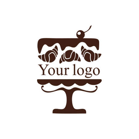 Logo for a baking company. A bakery that bakes delicious cakes, pastries, cupcakes, muffins, pies, and other sweets. Chocolate cake with a cherry, inside which is a place for the name of your company