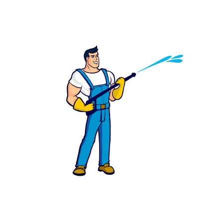 A worker in a blue overalls holds in his hands a device for cleaning houses under strong pressure of water A strong-built brunette cleaner with yellow gloves is pictured at work.Wet cleaning isolated