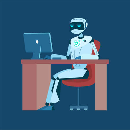 Artificial intelligence robot working on computer. Technology concept of AI replacing human workers. Vector illustration.