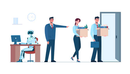Artificial intelligence has replaced humans, they lost her job due to robotics. The robot is in the workplace, and people is fired. Business people, unemployment. Flat vector illustration isolated Illustration