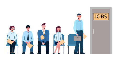 Competition of people for jobs, queue for an interview. Unemployment, crisis, .job search. Vector illustration, flat isolated. Business people want to get a job