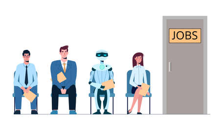 Competition of people and robots for jobs, queue for an interview. Unemployment, robotization, ai. Business people and artificial intelligence want to get a job. Vector illustration, flat isolated.