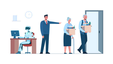 Elderly people retire. Artificial intelligence has replaced humans, they lost their job due to robotics. Ai, technologies. The robot is in the workplace, man and women africans is fired. Flat vector