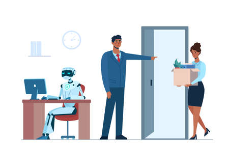 Artificial intelligence has replaced human, she lost her job due to robotics. The robot is in the workplace, and black woman is fired. Flat vector .isolated. Ai, technologies of the future.