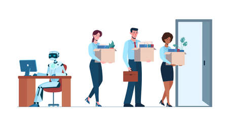 Artificial intelligence replaced humans, they lost their jobs due to robotics. A robot is in the workplace and people are fired. Business people, Europeans and Africans. Flat vector ai, isolated.