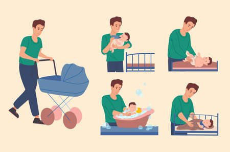 Dad takes care of the baby: he walk with a child, changes the diaper for the baby, bathes him in the bath, feeds him from the bottle and puts him in bed. Father spends time with his son. Vector.