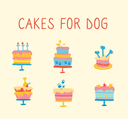 Cupcakes for your dogs birthday party. Pet snacks, candle candles, bakery products for puppies. Vector illustration of multi-colored dog pies, isolated image