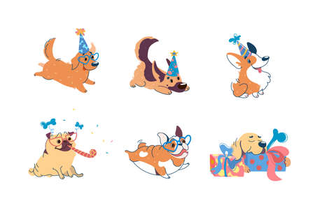 Dogs have a birthday. Puppies of different breeds at a party: Labrador, Corgi, German Shepherd, Pug, American Bulldog, Retriever. On dogs caps, glasses. Set in cartoon style for design of party Векторная Иллюстрация