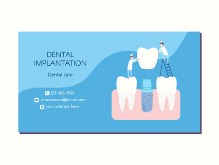 Vector dental implant dentistry business card design. Two implantologists place a dental implant: a crown is put on the abutment. Next to healthy teeth. Blue and white colors, flat style clip art.