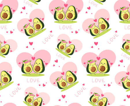 Seamless vector texture for valentines day.A pair of avocado lovers gently green with pink flowers, hearts.Vegetarian wallpaper,packaging,textiles, holiday print of love.Isolated on a white background.