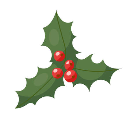 New Years holly..Vector illustration in cartoon style. Isolated on white.