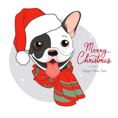 French Bulldog black and white with warm scarf and santa claus hat. Cute winter poster Merry Christmas and Happy New Year. Vector illustration of a dog. New Year card, banner, design for textiles.