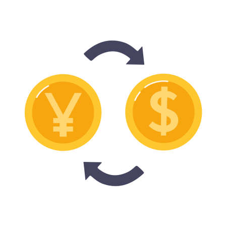 Exchange Chinese yuan to dollar. Gold coins and arrows between them. .Currency exchange exchange. Vector illustration in a flat style. Vecteurs
