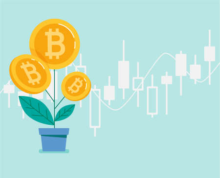 Growing bitcoin, banner. Japanese candlestick chart. Blockchain technologies, cryptocurrency coins. Vector flat Ilustracja