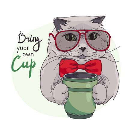Eco-friendly banner. Cat, lettering Bring your cup. Green lifestyle. Free plastic container for drinks. Vector. Environmental protection, zero waste concept with british kitten wearing glasses,bow tie.