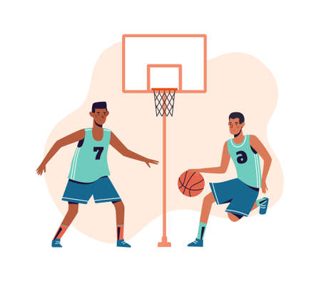 Men are playing basketball. Flat design concept with guys who go in for sports playing ball. Vector illustrations of athletes on a white background. Vetores
