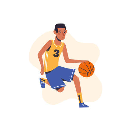 Little boy plays basketball. Flat design concept with cute baby hitting a ball. Vector illustration isolated on white background