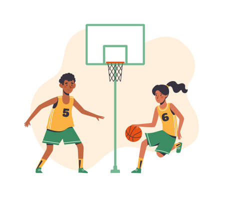 Childrens sports basketball. Flat design concept with funny kids playing ball. isolated on white background. Vector illustration of boy and girl.